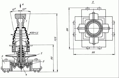 Общий вид и габаритные размеры крестовых переключателей ПК12-21-801 и ПК12-21-802: 1 - приводная рукоятка; 2 - управляющая крестовина; 3 - корпус; 4 - сферический подпятник; 5 - микровыключатель