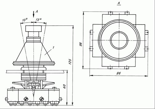 Общий вид и габаритные размеры крестовых переключателей ПК12-21Д801 и ПК12-21Д802: 1 - пластмассовый колпак