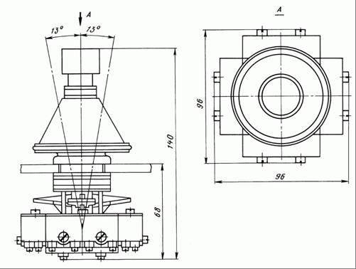 Общий вид и габаритные размеры крестовых переключателей ПК12-21Д821 и ПК12-21Д822